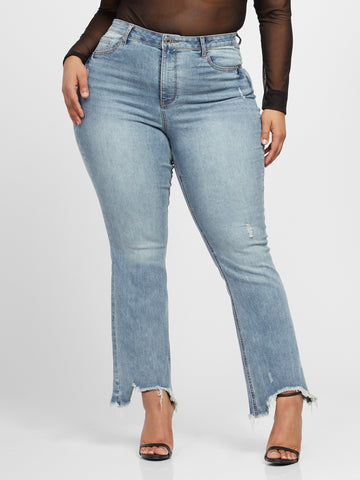 High-Rise Chewed Hem Flare Jeans in Light Indigo
