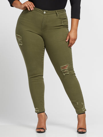 Olive Mid-Rise Destructed Skinny Jeans in Olive