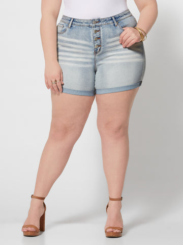 High-Rise Roll Cuff Button Shorts in Light Wash