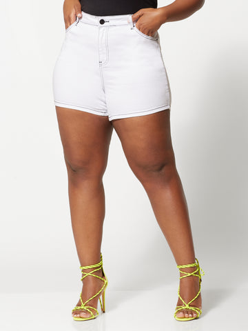 Evonne White Jean Shorts in White
