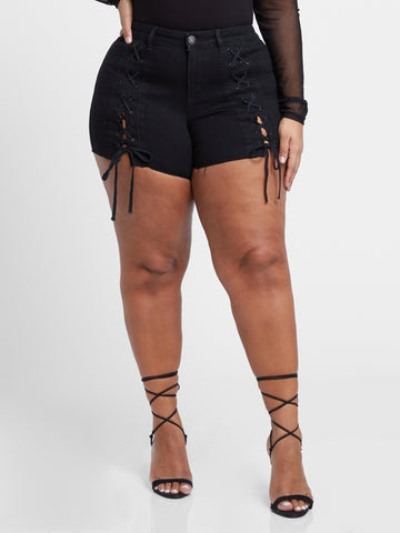 Sierra Lace Up Short in Black in Black