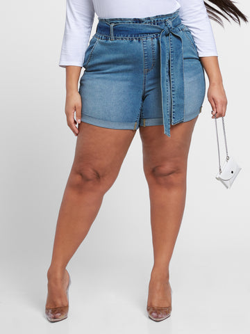 High Rise Paperbag Waist Cuffed Shorts in Medium Indigo