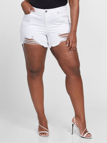 White Destructed Cut Off Shorts in White