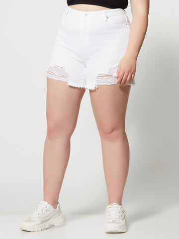 High-Rise White Cut Off Shorts in White