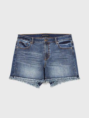 Mid-Rise Studded Shorts in Dark Blue Wash