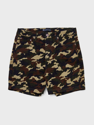 High Rise Camo Shorts in Olive