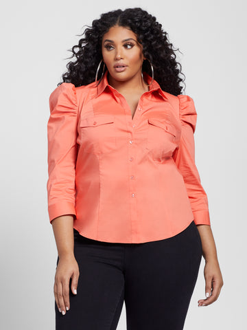 Rylie Puff Sleeve Button Front Poplin Shirt in Island Coral