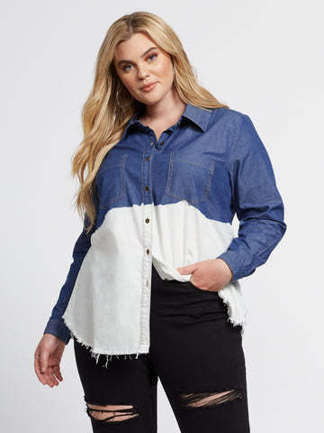 Kendra Dip Dye Denim Button-Up Shirt in Medium Blue Wash