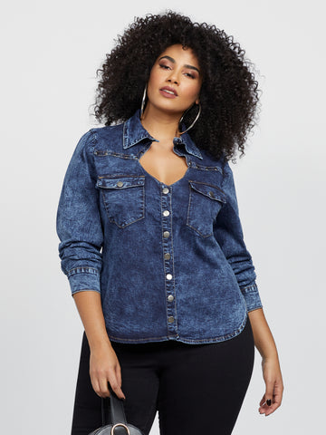 Deedee Cut-Out Denim Top in Medium Blue