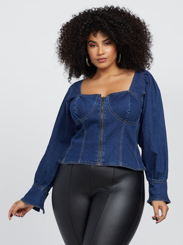 Cecile Zip-Front Denim Top in Dark Blue