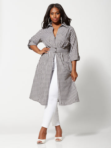 Coletta Gingham Duster in Black