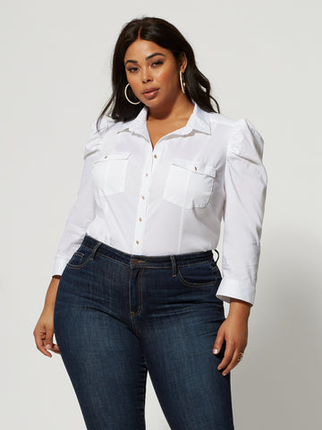 Harlow Puff Sleeve Button-Up Top in Optic White