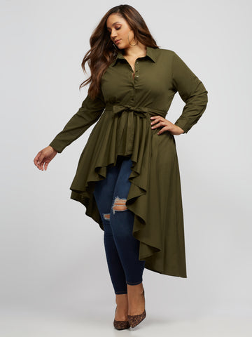 Kailani Asymmetric Peplum Top in Olive