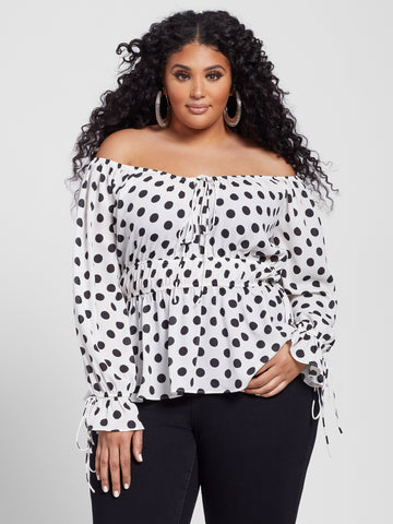 Merideth Polka Dot Peplum Top in Black