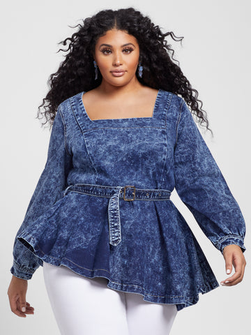 Peyton Asymmetrical Denim Peplum Top in Blue