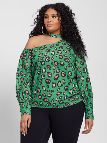 Leandra Animal Print Top with Open Shoulder Detail in Green