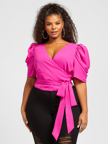 Simone Puff Sleeve Wrap Blouse in Magenta