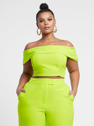 Krista Off Shoulder Crop Top in Twisted Lime