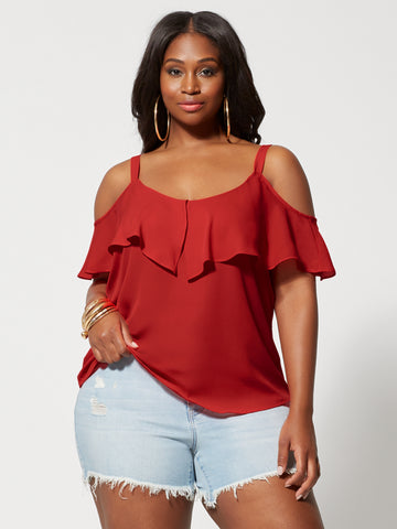 Chandra Cold-Shoulder Top in Siren Red
