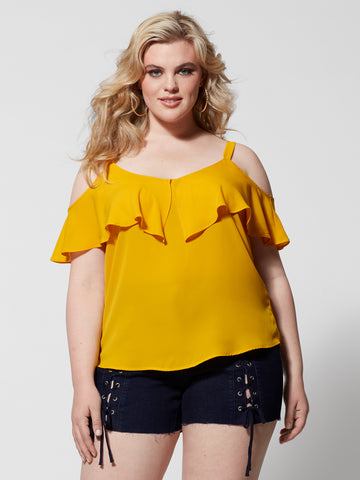 Chandra Cold-Shoulder Top in Yellow