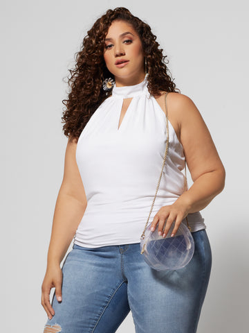 Helina Halter Cut-Out Top in White