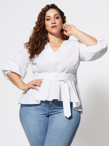 Lisbeth Belted Peplum Top in White