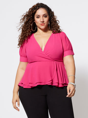 Arielle Faux-Wrap Peplum Top in Pink