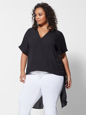Giovanna Drape Hi-Lo Blouse in Black