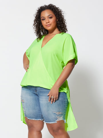 Giovanna Drape Hi-Lo Blouse in Light Green