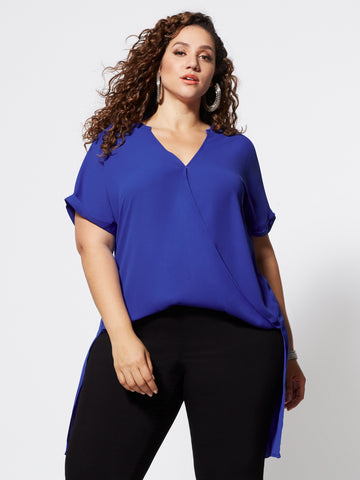 Giovanna Drape Hi-Lo Blouse in Royal Blue