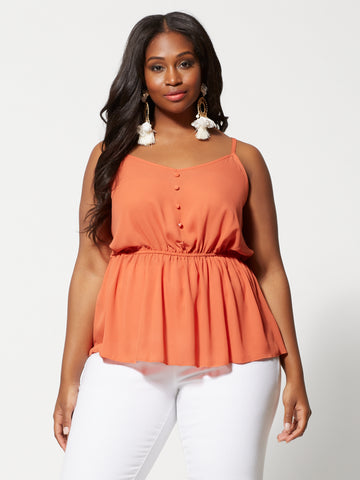 Dasha Button Peplum Tank Top in Orange