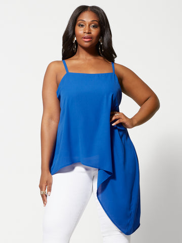 Avanti Asymmetric Hem Tank Top in Royal Blue