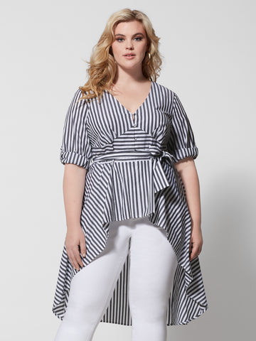 Layla Stripe Hi-Lo Bow Blouse in Black/White