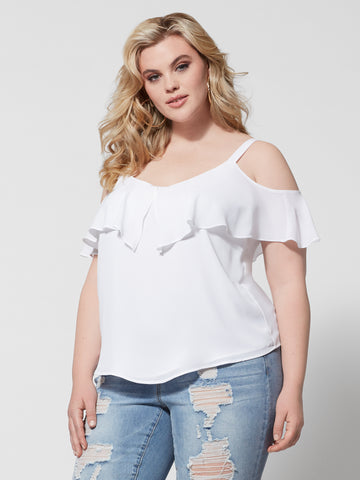 Chandra Cold-Shoulder Top in White