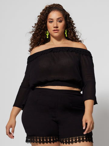 Gisela Off Shoulder Top in Black