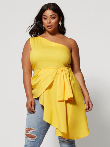 Rianna Asymmetric Drape Blouse in Yellow