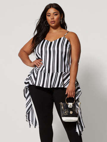 Tailynn Stripe Drape Tank in Black/White