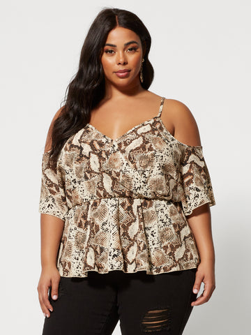 Analena Snake Print Cold Shoulder Top in Light Brown