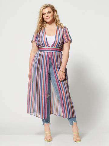 Mariabella Stripe Duster in Stripes-Multi