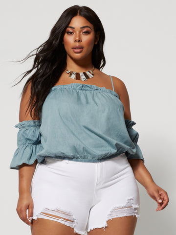 Riley Denim Cold Shoulder Top in Blue