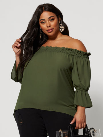 Ada Ruffled Off Shoulder Top in Olive