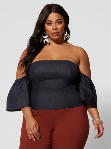 Fernanda Denim Off Shoulder Top in Dark Blue