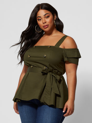 Mischa Cold Shoulder Utility Tunic in Olive
