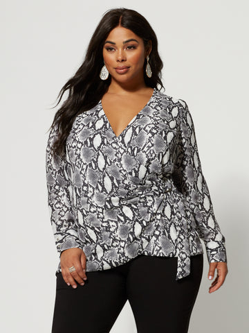 Talia Snake Print Wrap Blouse in Black/White