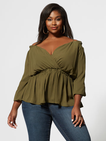 Solange Cold Shoulder Peplum Top in Olive