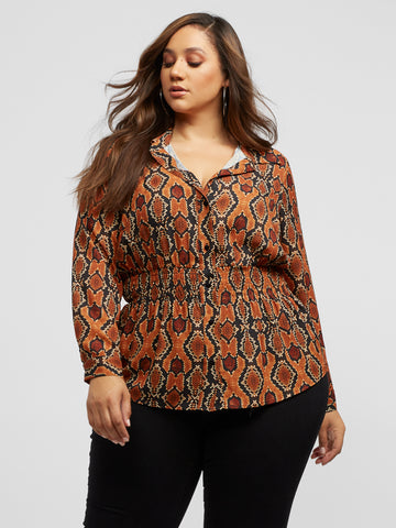 Kalina Snake Print Blouse in Dark Yellow
