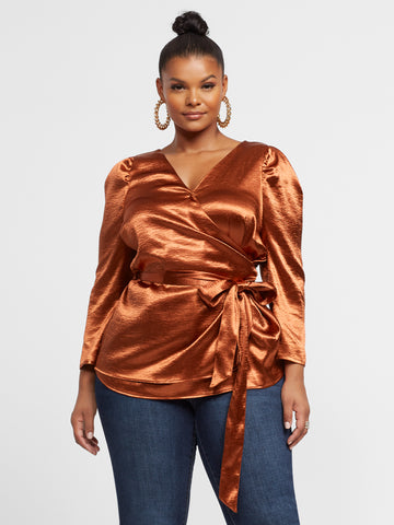 Bryony Satin Wrap Blouse in Rust