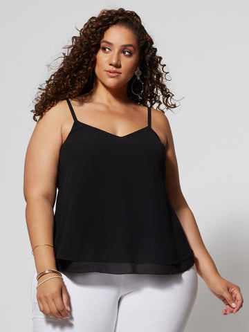 Maiya Double Layer Tank Top in Black