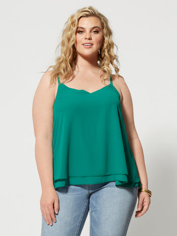 Maiya Double Layer Tank Top in Green