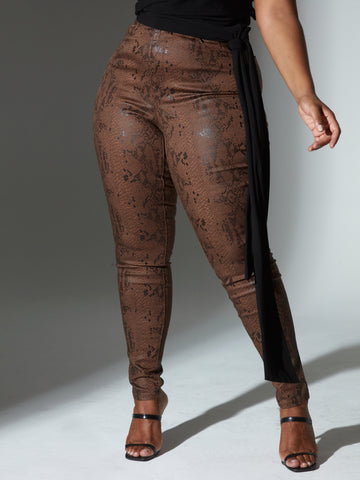 High Rise Textured Animal Print Skinny Jeans in Brown